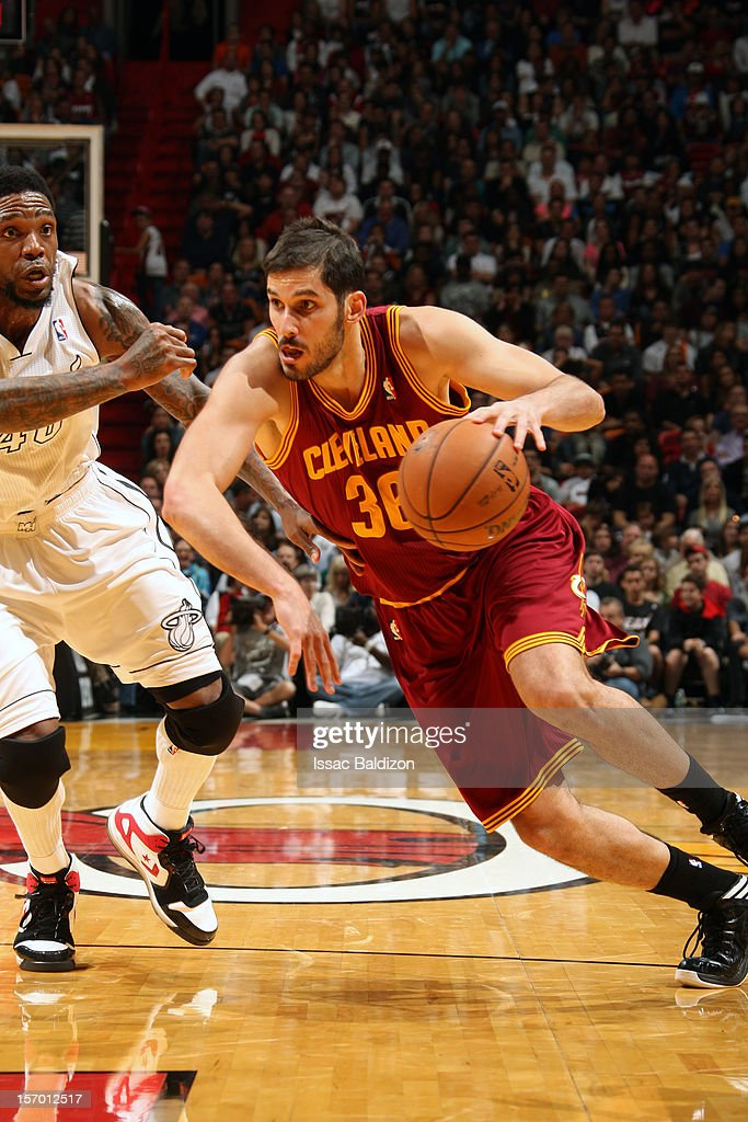 <a gi-track='captionPersonalityLinkClicked' href=/galleries/search?phrase=Omri+Casspi&family=editorial&specificpeople=2298404 ng-click='$event.stopPropagation()'>Omri Casspi</a> #36 of the Cleveland Cavaliers handles the ball against <a gi-track='captionPersonalityLinkClicked' href=/galleries/search?phrase=Udonis+Haslem&family=editorial&specificpeople=201748 ng-click='$event.stopPropagation()'>Udonis Haslem</a> #40 of the Miami Heat on November 24, 2012 at American Airlines Arena in Miami, Florida.