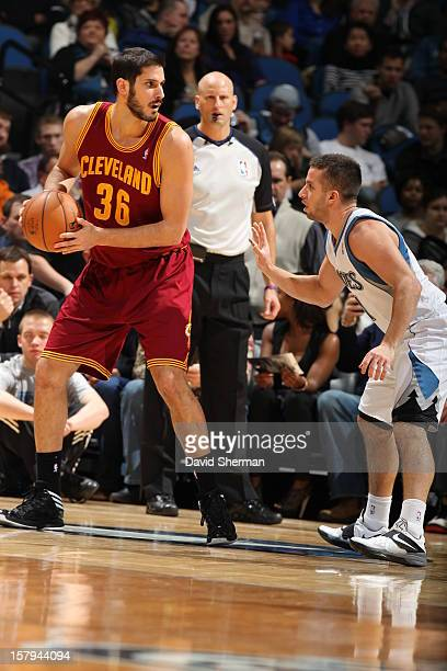Omri Casspi of the Cleveland Cavaliers looks to pass the ball against the Minnesota Timberwolves during the game on December 7 2012 at Target Center...
