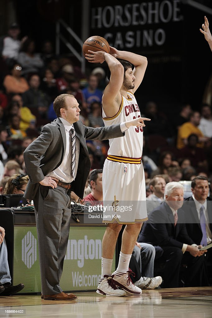 <a gi-track='captionPersonalityLinkClicked' href=/galleries/search?phrase=Omri+Casspi&family=editorial&specificpeople=2298404 ng-click='$event.stopPropagation()'>Omri Casspi</a> #36 of the Cleveland Cavaliers looks to pass the ball against the Detroit Pistons at The Quicken Loans Arena on April 10, 2013 in Cleveland, Ohio.