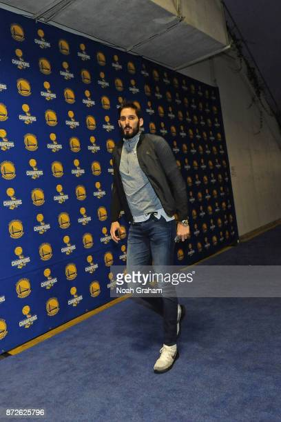 Omri Casspi of the Golden State Warriors arrives at the arena before the game against the Minnesota Timberwolves on November 8 2017 at ORACLE Arena...