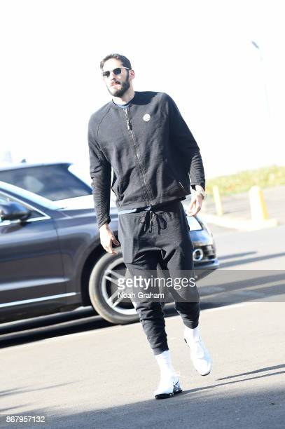 Omri Casspi of the Golden State Warriors arrives before the game against the Detroit Pistons on October 29 2017 at ORACLE Arena in Oakland California...