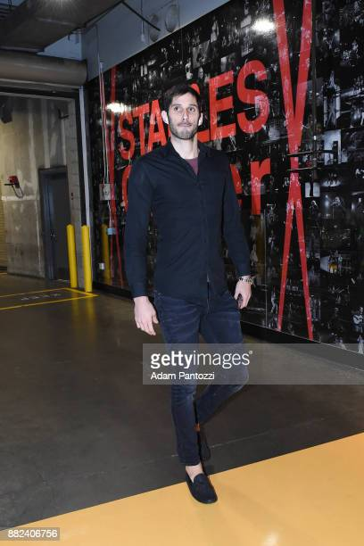 Omri Casspi of the Golden State Warriors arrives to the arena before the game against the Los Angeles Lakers on November 29 2017 at STAPLES Center in...