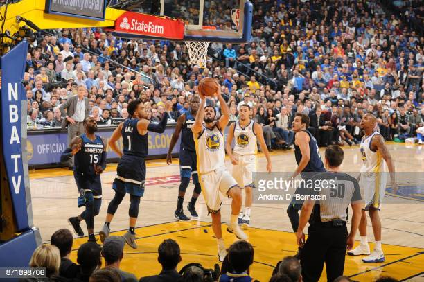 Omri Casspi of the Golden State Warriors goes to the basket against the Minnesota Timberwolves on November 8 2017 at ORACLE Arena in Oakland...