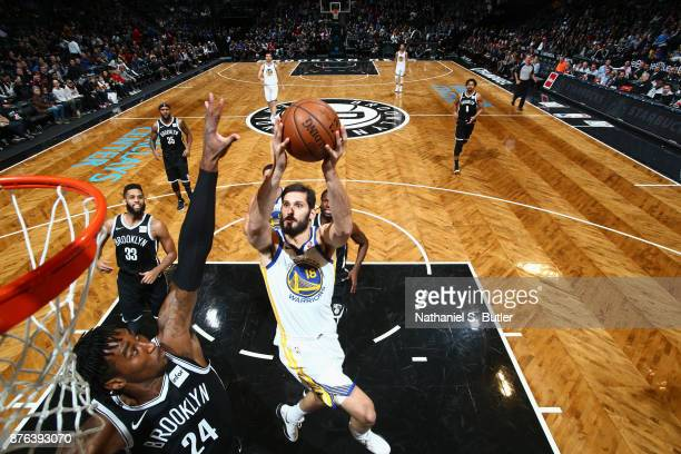 Omri Casspi of the Golden State Warriors goes to the basket against the Brooklyn Nets on November 19 2017 at Barclays Center in Brooklyn New York...