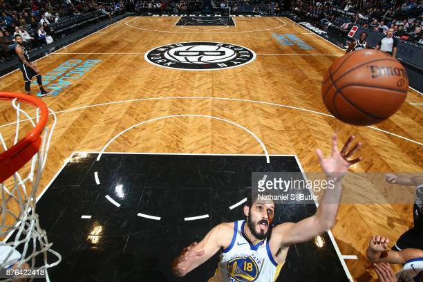 Omri Casspi of the Golden State Warriors grabs the rebound against the Brooklyn Nets on November 19 2017 at Barclays Center in Brooklyn New York NOTE...