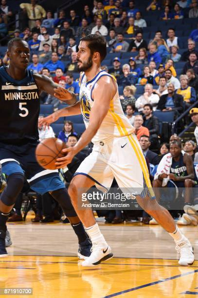 Omri Casspi of the Golden State Warriors handles the ball against the Minnesota Timberwolves on November 8 2017 at ORACLE Arena in Oakland California...
