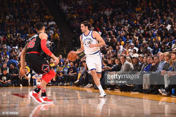 Omri Casspi of the Golden State Warriors handles the ball against the Chicago Bulls on November 24 2017 at ORACLE Arena in Oakland California NOTE TO...