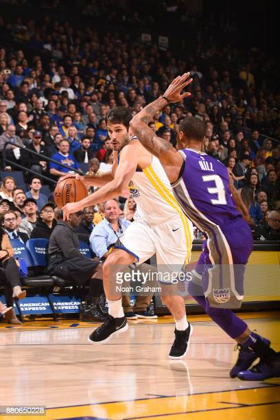 Omri Casspi of the Golden State Warriors handles the ball against the Sacramento Kings on November 27 2017 at ORACLE Arena in Oakland California NOTE...
