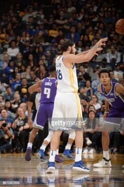 Omri Casspi of the Golden State Warriors handles the ball during preseason game against the Sacramento Kings on October 13 2017 at ORACLE Arena in...