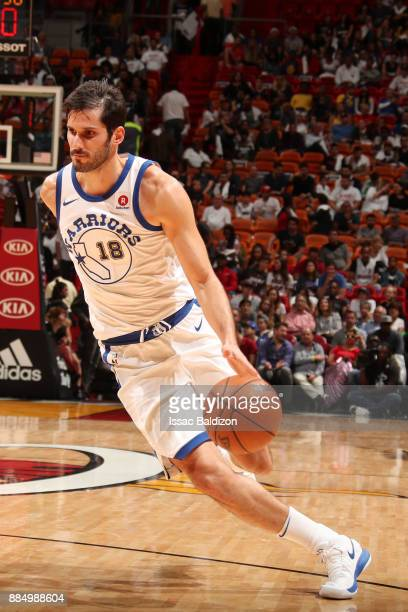 Omri Casspi of the Golden State Warriors handles the ball during the game against the Miami Heat on December 3 2017 in Miami Florida NOTE TO USER...
