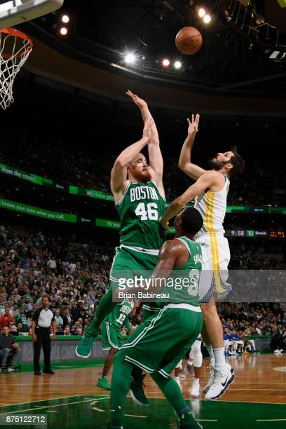 Omri Casspi of the Golden State Warriors shoots the ball against the Boston Celtics on November 16 2017 at the TD Garden in Boston Massachusetts NOTE...