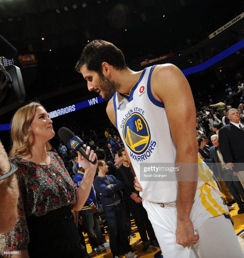 Omri Casspi #18 of the Golden State Warriors talks with media after the game against the Dallas Mavericks on December 14, 2017 at ORACLE Arena in Oakland, California.