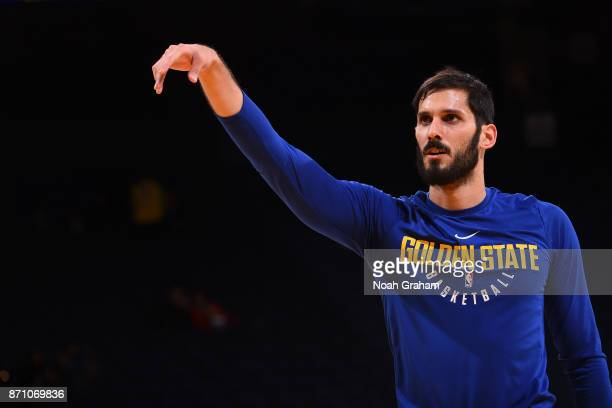 Omri Casspi of the Golden State Warriors warms up before the game against the Miami Heat on November 6 2017 at ORACLE Arena in Oakland California...