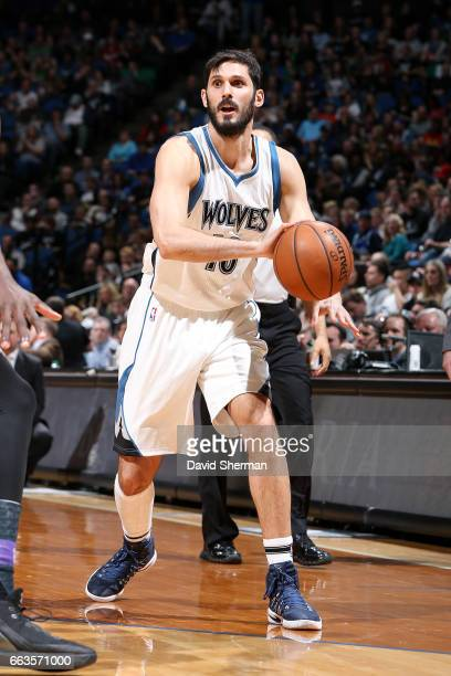 Omri Casspi of the Minnesota Timberwolves looks to pass the ball during the game against the Sacramento Kings on April 1 2017 at Target Center in...