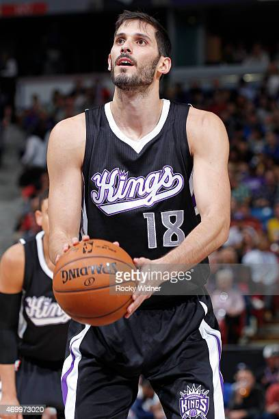 Omri Casspi of the Sacramento Kings attempts a free throw shot against the Los Angeles Lakers on April 13 2015 at Sleep Train Arena in Sacramento...