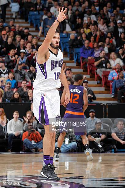 Omri Casspi of the Sacramento Kings celebrates after making a three pointer against the Phoenix Suns on January 2 2016 at Sleep Train Arena in...