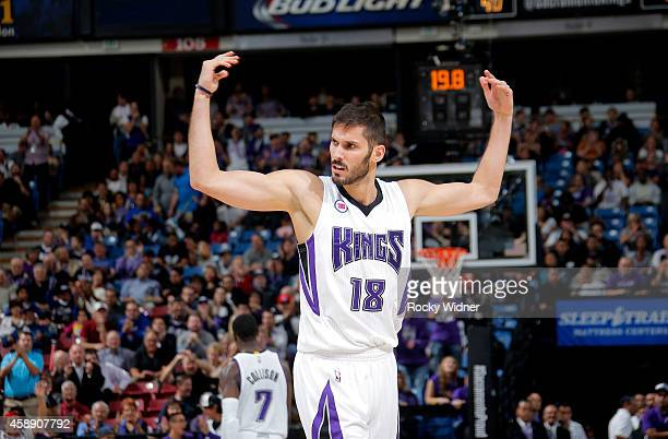 Omri Casspi of the Sacramento Kings celebrates against the Denver Nuggets on November 5 2014 at Sleep Train Arena in Sacramento California NOTE TO...