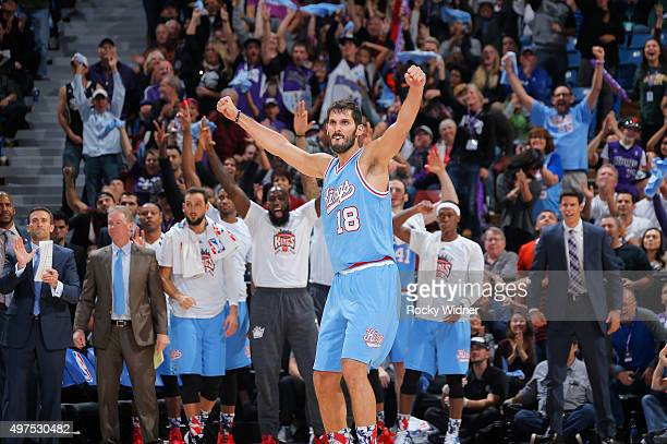 Omri Casspi of the Sacramento Kings celebrates during the game against the Houston Rockets on November 6 2015 at Sleep Train Arena in Sacramento...