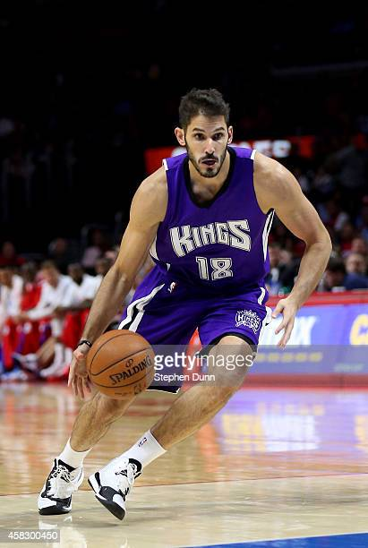 Omri Casspi of the Sacramento Kings drives against the Los Angeles Clippers at Staples Center on November 2 2014 in Los Angeles California NOTE TO...