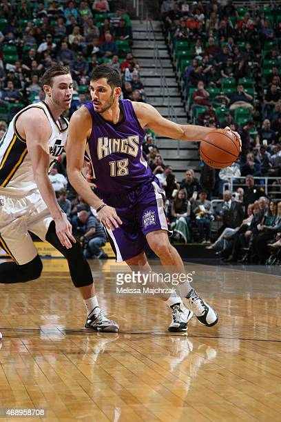 Omri Casspi of the Sacramento Kings drives to the basket against the Utah Jazz during the game on April 8 2015 at EnergySolutions Arena in Salt Lake...