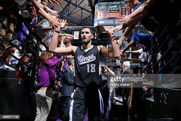 Omri Casspi of the Sacramento Kings greets fans upon entering into the tunnel after the game against the Los Angeles Lakers on April 13 2015 at Sleep...