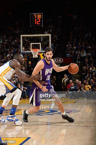 Omri Casspi of the Sacramento Kings handles the ball against the Golden State Warriors on December 28 2015 at ORACLE Arena in Oakland California NOTE...
