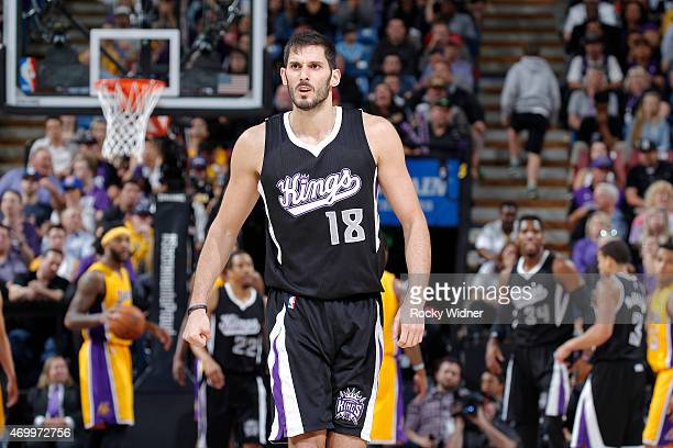 Omri Casspi of the Sacramento Kings looks on during the game against the Los Angeles Lakers on April 13 2015 at Sleep Train Arena in Sacramento...