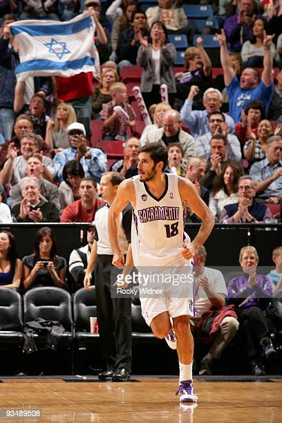 Omri Casspi of the Sacramento Kings runs back on defense after making a basket against the New Orleans Hornets on November 29 2009 at ARCO Arena in...