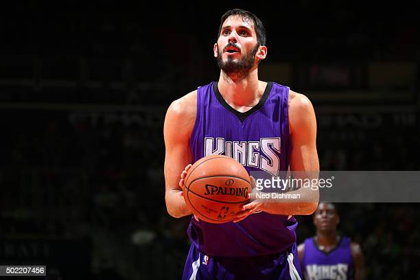 Omri Casspi of the Sacramento Kings shoots a free throw against the Washington Wizards on December 21 2015 at Verizon Center in Washington DC NOTE TO...