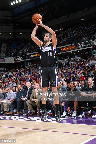 Omri Casspi of the Sacramento Kings shoots a three pointer against the Los Angeles Lakers on April 13 2015 at Sleep Train Arena in Sacramento...