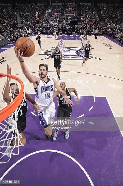 Omri Casspi of the Sacramento Kings shoots the ball against the San Antonio Spurs at Sleep Train Arena on November 9 2015 in Sacramento California...