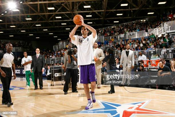 Omri Casspi of the Sacramento Kings shoots the ball during HORSE presented by Geico on center court at Jam Session presented by Adidas during NBA All...