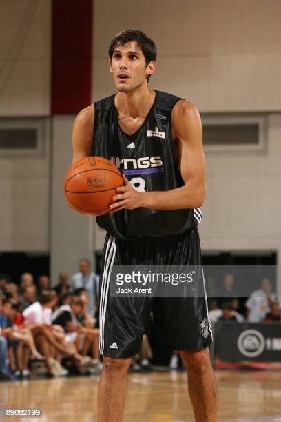 Omri Casspi shoots a free throw against the New York Knicks during the NBA Summer League presented by EA Sports on July 17 2009 at Cox Pavilion in...
