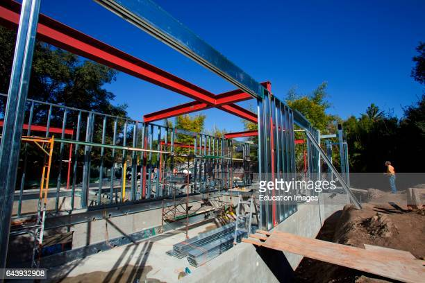 On 2/20/2013 the steel framing continues to be assembled over the foundation on the Begley's new home Steel while not a common material for...