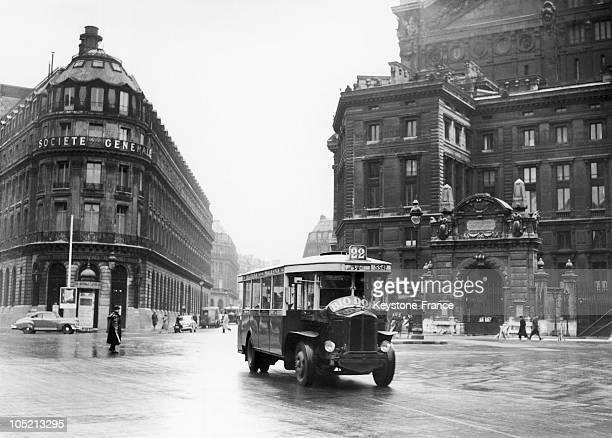 On 9 April 1951 The Bus Line 22 Opera Pont De Sevres Takes His First Start Place De L'Opera Paris