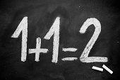 1+1=2 on a blackboard