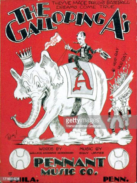 On a cartoon illustrated piece of sheet music Athletics manageer Connie Mack rides an elephant to victory in the American League issued in 1930 in...