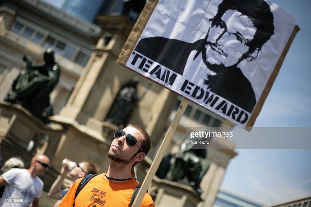 On a day of nationwide demonstrations against NSA spying all over Germany around 1000 activists protest in Frankfurt Germany Protesters also show...