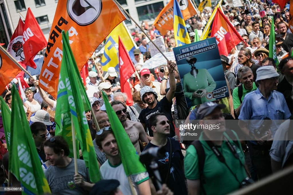 On a day of nationwide demonstrations against NSA spying all over Germany around 1000 activists protest in Frankfurt Germany on July 27 2013 Photo...