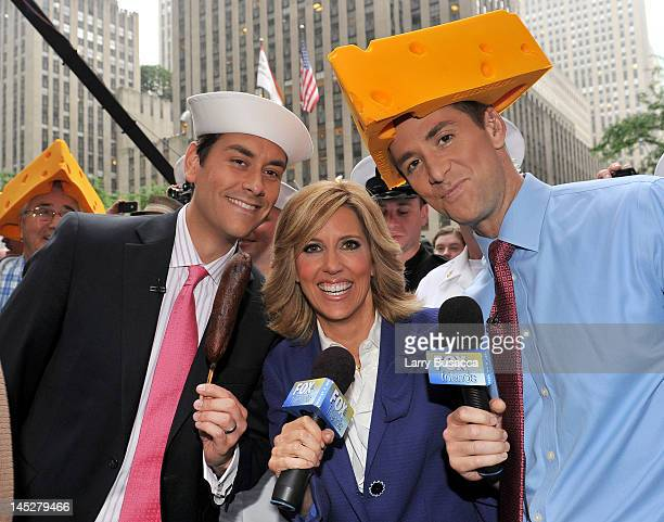 On Air personalities Clayton MorrisAlisyn Camerota and Dave Briggs broadcast during 'FOX Friends' All American Concert Series at FOX Studios on May...
