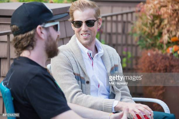KNDD on air personality Cody Whistler interviews singer Andrew McMahon backstage during the Summer Camp Music Festival hosted by 1077 The End at...