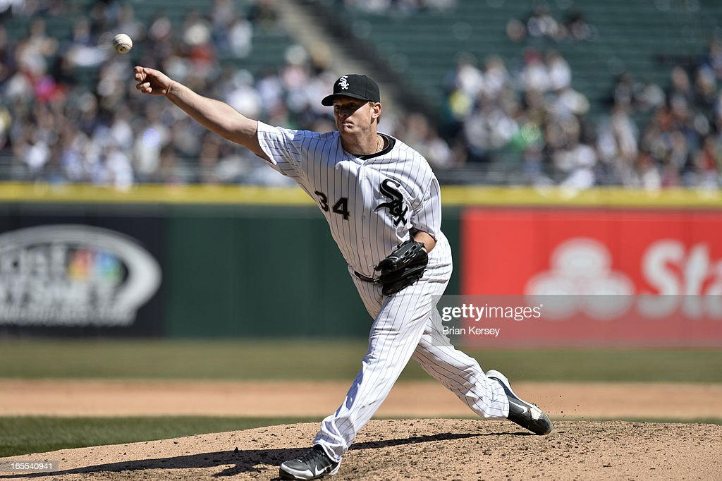 on April 4, 2012 Starting pitcher <a gi-track='captionPersonalityLinkClicked' href=/galleries/search?phrase=Gavin+Floyd&family=editorial&specificpeople=224627 ng-click='$event.stopPropagation()'>Gavin Floyd</a> #34 of the Chicago White Sox delivers during the fifth inning against the Kansas City Royals at U.S. Cellular Field in Chicago, Illinois.