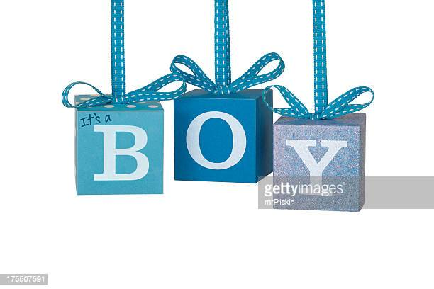 IT'S A BOY on blue gift boxes
