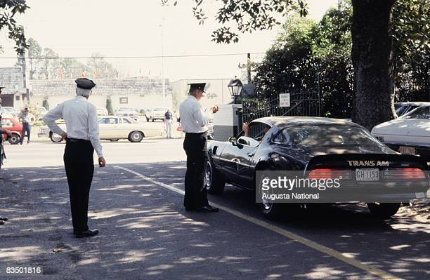 On course view of security at the Clubhouse entrance Magnolia Lane during the 1978 Masters Tournament at Augusta National Golf Club in April 1978 in...