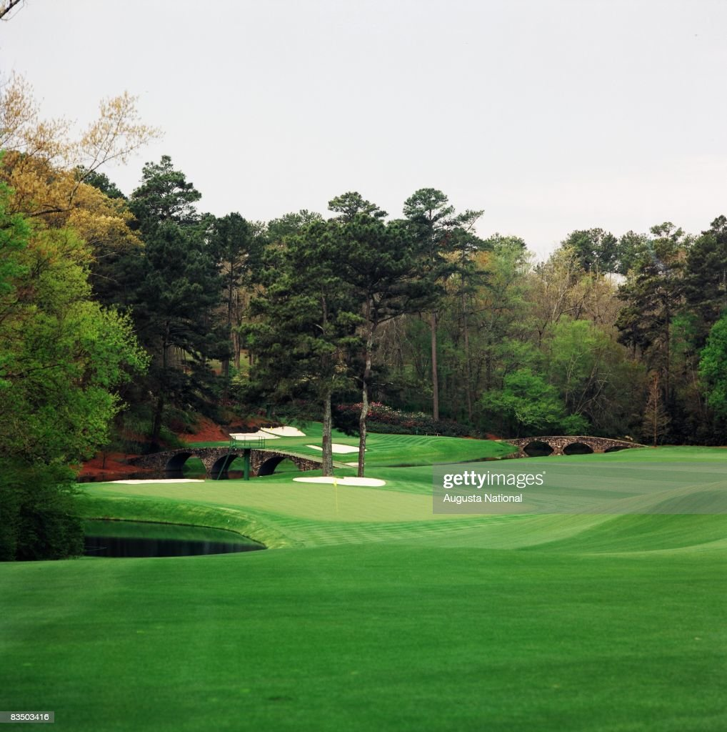 On course view of the 11th and 12th green from the fairway at the Augusta National Golf Club in Augusta, Georgia.