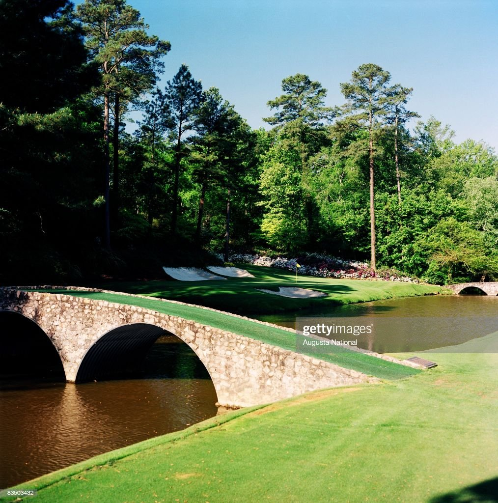 On course view of the 12th green from across Rae's Creek at the Augusta National Golf Club in Augusta, Georgia.