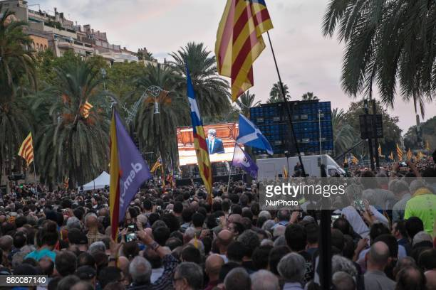 On Dec 10th 2017 the Catalan president Carles Puigdemont gives a speech in the Catalan parliament in BarcelonaIn the streets surrounding the...