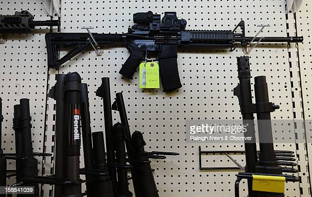 On display at Perry's Gun Shop in Wendell North Carolina an AR15 assault rifle manufactured by Core15 Rifle Systems The weapon costs $2384 and...