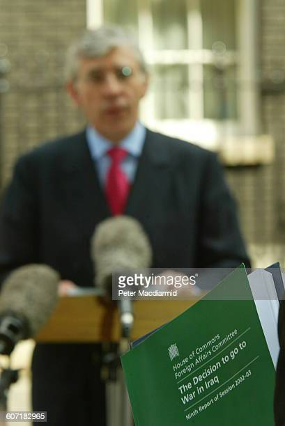 On Downing Street British Secretary of State for Foreign and Commonwealth Affairs Jack Straw speaks in the background while a House of Commons...