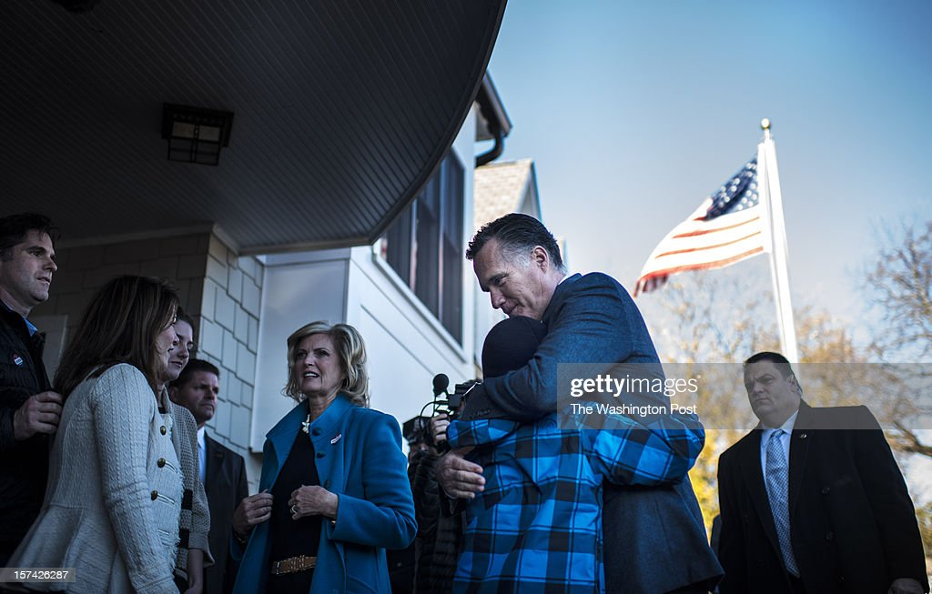 On election day, Republican nominee for President Governor Mitt Romney and Ann Romney finish voting and say goodbye to the family in their neighborhood of Belmont, Massachusetts, Tuesday, November 6, 2012.